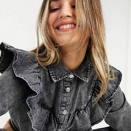 New Look denim ruffle shirt dress in black | ASOS | ASOS (Global)