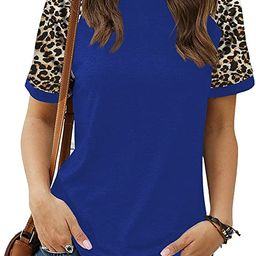 HARHAY Women's Leopard Print Color Block Tunic Round Neck Long Sleeve Shirts Striped Causal Blous... | Amazon (US)