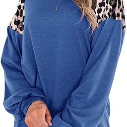 Uincloset Women's Leopard Print Patchwork Raglan Long Sleeve Crew Neck Shirts Casual Loose Pullov... | Amazon (US)
