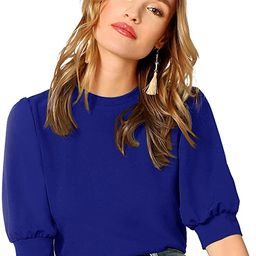 SheIn Women's Puff Sleeve Casual Solid Top Pullover Keyhole Back Blouse | Amazon (US)