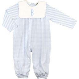 Blue Knit Stripe Square Collar Long Romper   Cecil and Lou