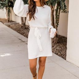 Wishful Dreamer Ivory Belted Sweater Dress   The Pink Lily Boutique