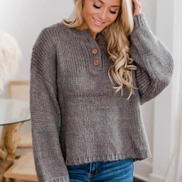 Kicked Back Charcoal Henley Sweater   The Pink Lily Boutique