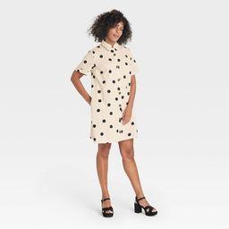 Women's Short Sleeve Button-Up Trapeze Dress - Who What Wear™ | Target