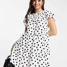 ASOS DESIGN frill sleeve tiered smock dress in mono spot | ASOS | ASOS (Global)