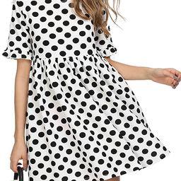 ROMWE Women's Comfy Short Sleeve Smock Loose Tunic Flare Swing Party Dress | Amazon (US)