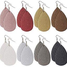 8 Pairs Leather Earrings Lightweight Faux Leather Leaf Earrings Antique Looking Teardrop Dangle Hand | Amazon (US)