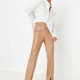 Missguided - Mocha Faux Leather Split Front Pants | Missguided (US & CA)
