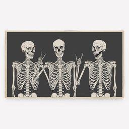 Halloween Samsung Frame TV Art Funny Skeletons Fall Art | Etsy | Etsy (US)