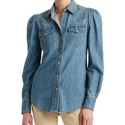 Denim Long Puff Sleeve Snap Front Point Collar Cotton Western Shirt | Dillards