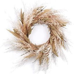 RED DECO Fall Reed Floral Welcome Wreath for Front Door - 24 inch Artificial Door Wreaths for Hom... | Amazon (US)