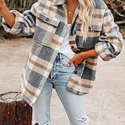 Nirovien Women's Brushed Plaid Shirts Long Sleeve Lapel Button Down Shackets Wool Blend Jackets P... | Amazon (US)
