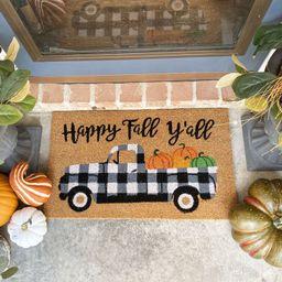 Gundelinda Happy Fall Y'all Coir 30 in. x 18 in. Outdoor Door Mat | Wayfair North America