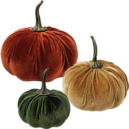 3 Pcs Assorted Fall Harvest Decorative Pumpkins Velvet Foam Pumpkins Fabric Pumpkins in Rust Oran... | Amazon (US)