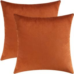 Mixhug Set of 2 Cozy Velvet Square Decorative Throw Pillow Covers for Couch and Bed, Burnt Orange... | Amazon (US)