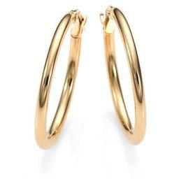 """18K Yellow Gold Oval Hoop Earrings/1""""   Saks Fifth Avenue"""