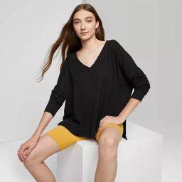 Women's Long Sleeve V-Neck Cozy Rib T-Shirt - Wild Fable™ | Target