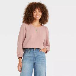 Women's Balloon 3/4 Sleeve Gauze Blouse - Universal Thread™ | Target
