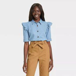 Women's Ruffle Elbow Sleeve Button-Down Shirt - Who What Wear™ | Target