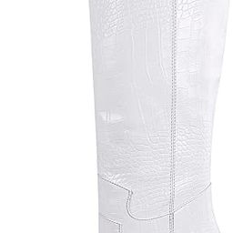 SOPHITINA Women's Knee High Western Boots Round Almond Toe Stacked Chunky Heels Thigh High White ... | Amazon (US)