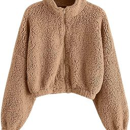 ZAFUL Women's Zip Up Faux Shearling Fluffy Hooded Cropped Teddy Jacket Coat | Amazon (US)