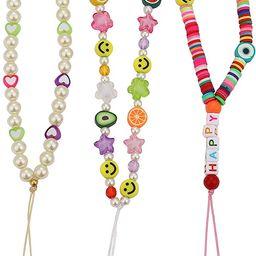 Beaded Phone Lanyard Wrist Strap Bohemian Colorful Bead Phone Charm Smiley Face Fruit Star Initia... | Amazon (US)