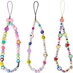 3 Pieces Smiley Face Beaded Phone Lanyard Wrist Strap Fruit Star Letter Pearl Handmade Rainbow Po... | Amazon (US)