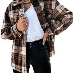AMEBELLE Women Casual Vintage Plaid Shackets Brushed Long Sleeve Cotton Shirt Jacket | Amazon (US)