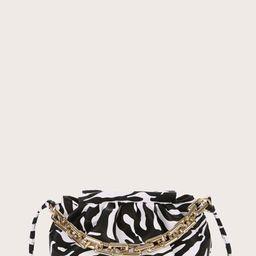 Zebra Print Chain Satchel Bag   SHEIN
