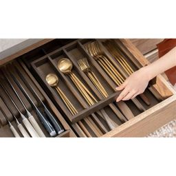 Marie Kondo Narrow 2-Tier Bamboo Flatware Tray | The Container Store