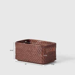 Marie Kondo Medium Ori Curved Rattan Bin Kocha Brown | The Container Store