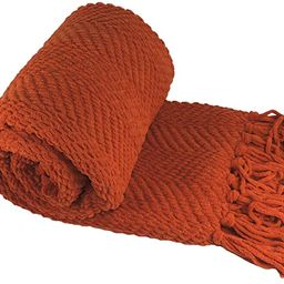 Home Soft Things Red Throw Blanket Knitted Tweed Throw 50'' x 60'', Rust, Super Soft Cozy Warm Th... | Amazon (US)