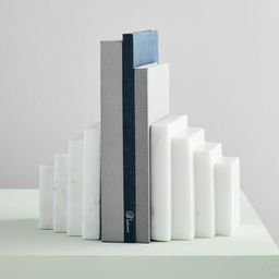 White Marble Stepped Bookends | West Elm (US)