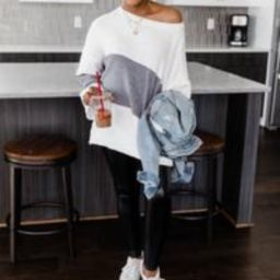 Waiting On The Weekend Colorblock Grey Pullover   The Pink Lily Boutique