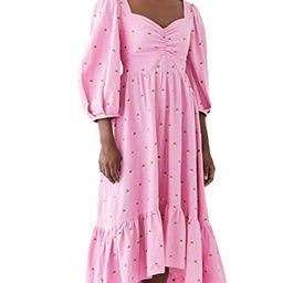 Embroidered Pineapples Pink Midi Dress | Shopbop