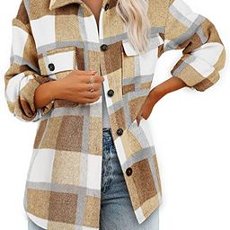Women's Brushed Plaid Shirts Long Sleeve Flannel Lapel Button Down Pocketed Shacket Jacket Coats | Amazon (US)