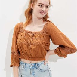 AE Lace Puff-Sleeve Blouse | American Eagle Outfitters (US & CA)