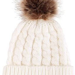 Simplicity Womens Winter Beanies Hand Knit Faux Fur Pompoms Beanie Hats | Amazon (US)