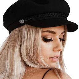 Womens Newsboy Cap Wool Winter Hats Baker Boy Hats Adjustable for Ladies | Amazon (US)