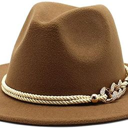 Gossifan Lady Fashion Wide Brim Felt Fedora Panama Hat with Ring Belt | Amazon (US)