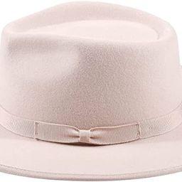 Classic Fedora Hat 100% Wool Felt Hat Retro Wide Brim Panama Hat with Adjustable Washed Cotton Sw... | Amazon (US)