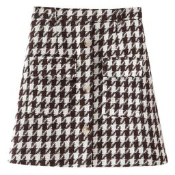 'Nikki' Houndstooth Pocket Mini Skirt   Goodnight Macaroon