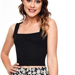 SheIn Women's Sleeveless Strappy Ribbed Knit Basic Plain Crop Tank Top | Amazon (US)