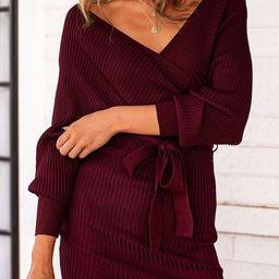 Culver Wine Ribbed Wrap Dress | Shop Priceless