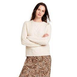 Women's Crewneck Cableknit Pullover Sweater - Nili Lotan x Target Cream   Target