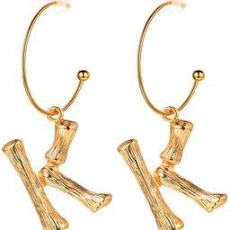 FOCALOOK Bamboo Initial Earrings Stainless Steel 18k Gold Plated Half-Hoop Drop Letter Earrings f... | Amazon (US)