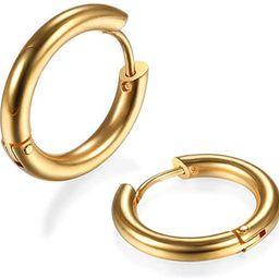 316L Surgical Stainless Steel Huggie Hoop Earrings 6mm/8mm/10mm/11mm/12mm/14mm Hypoallergenic Ear... | Amazon (US)