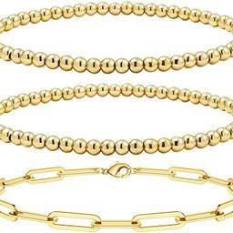 Reoxvo Gold Bead Layered Bracelets for Women,18K Gold Plated Beaded Ball Chain Bracelets for Wome... | Amazon (US)