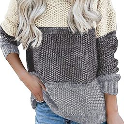 MEROKEETY Women's Crew Neck Long Sleeve Color Block Knit Sweater Casual Pullover Jumper Tops | Amazon (US)