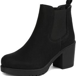 DREAM PAIRS Women's FRE High Heel Chelsea Style Ankle Bootie | Amazon (US)